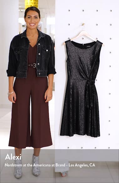 Matte Sequin Side Tie Sleeveless Fit & Flare Dress, sales video thumbnail