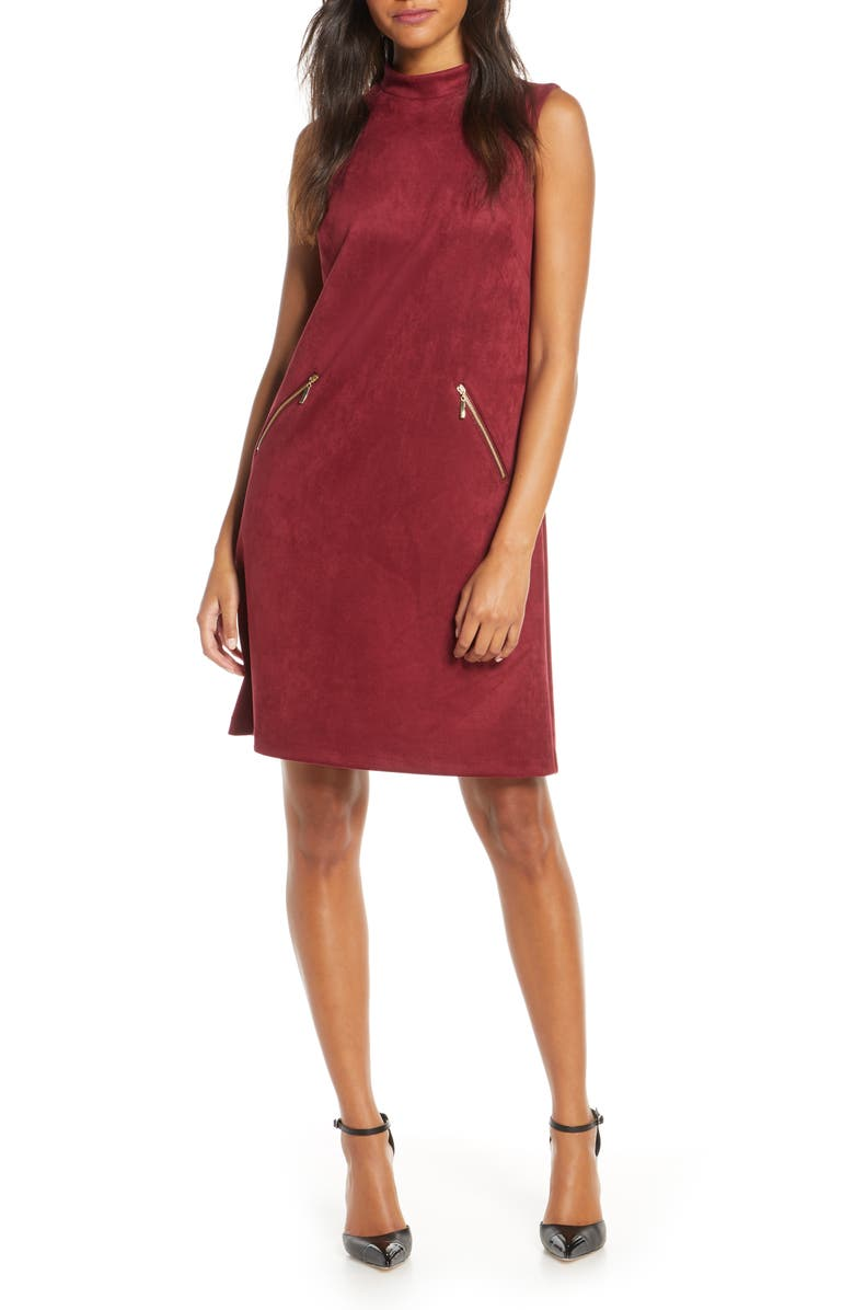 DONNA RICCO Faux Suede Shift Dress, Main, color, WINE