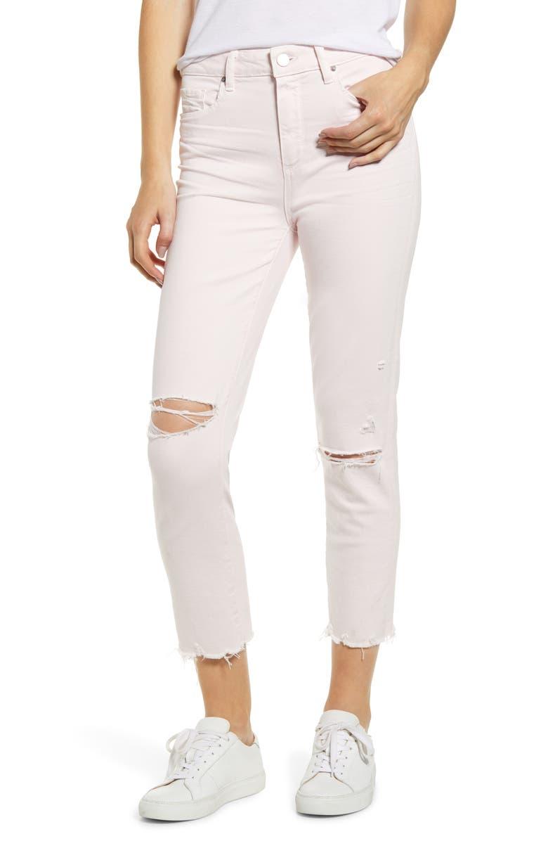 PAIGE Hoxton High Waist Raw Hem Crop Slim Jeans, Main, color, VINTAGE PINK MIRAGE DESTRUCTED