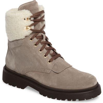 Moncler Patty Scarpa Faux Shearling Cuff Boot, Beige