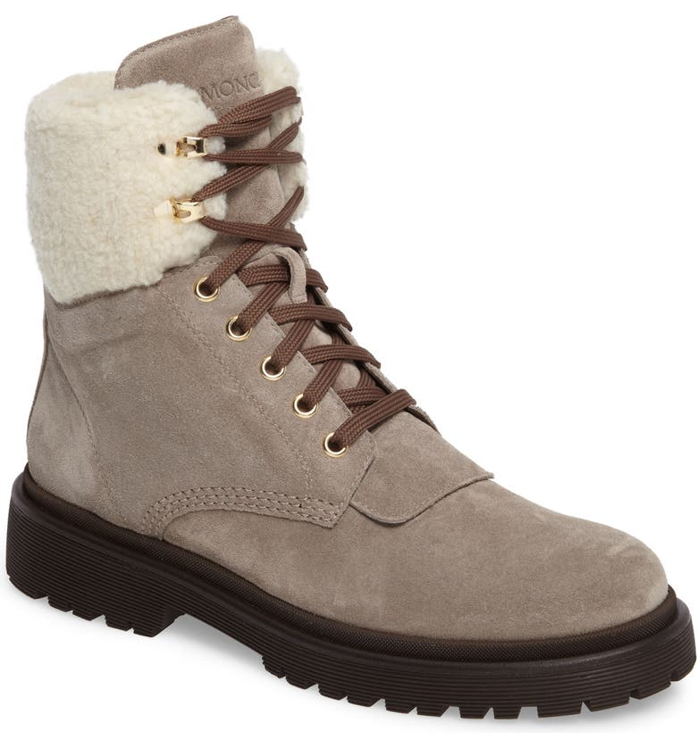 MONCLER Patty Scarpa Faux Shearling Cuff Boot, Main, color, BEIGE