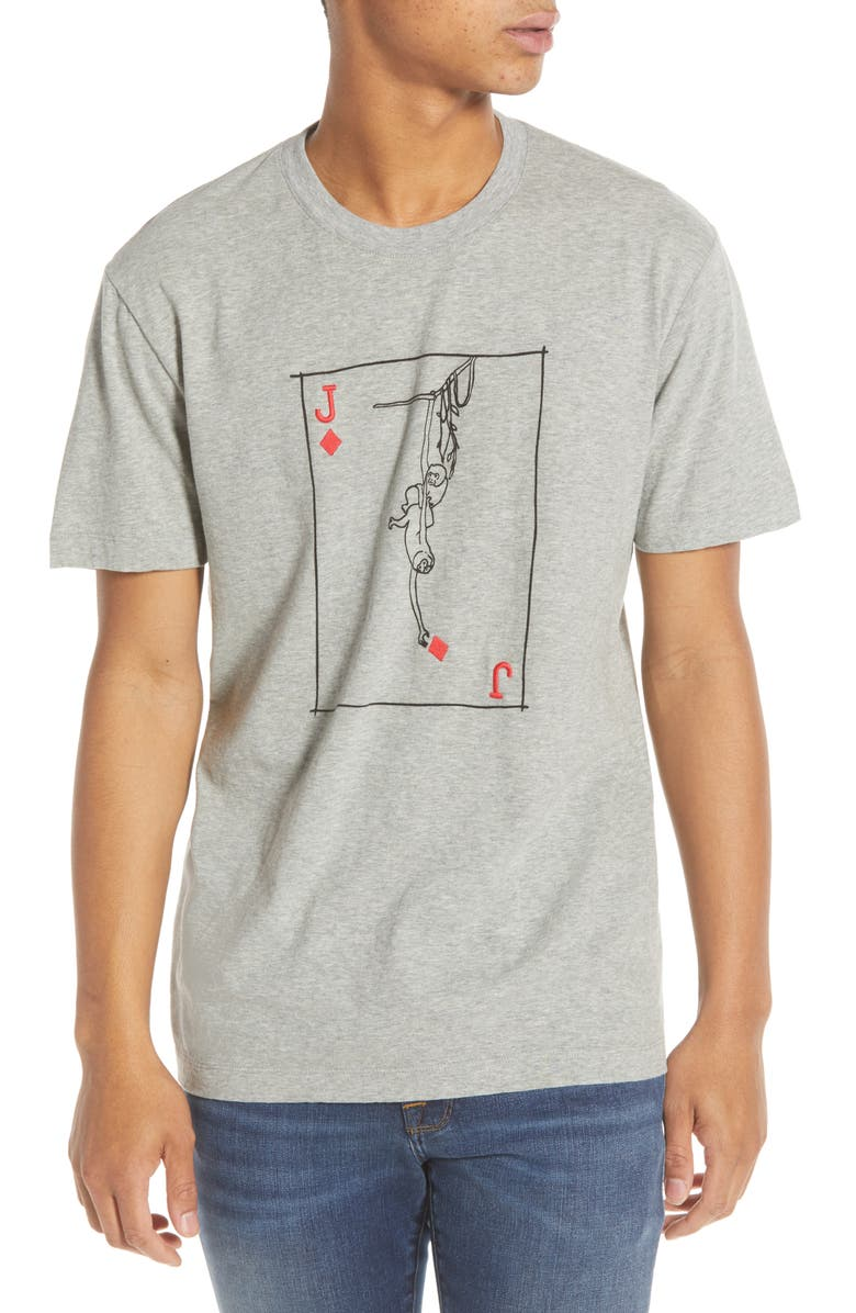 FRENCH CONNECTION Slim Fit Monkey Playing Card Graphic T-Shirt, Main, color, GREY MELANGE