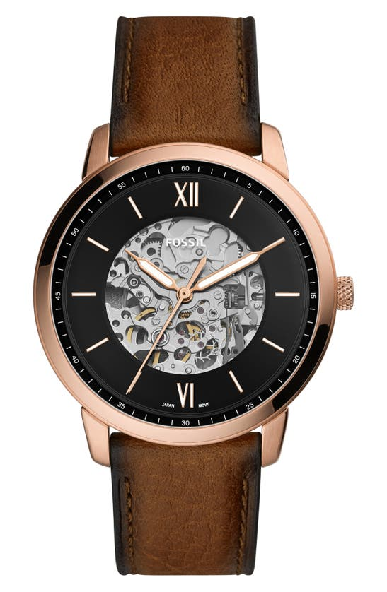 FOSSIL NEUTRA AUTOMATIC LEATHER STRAP WATCH, 44MM