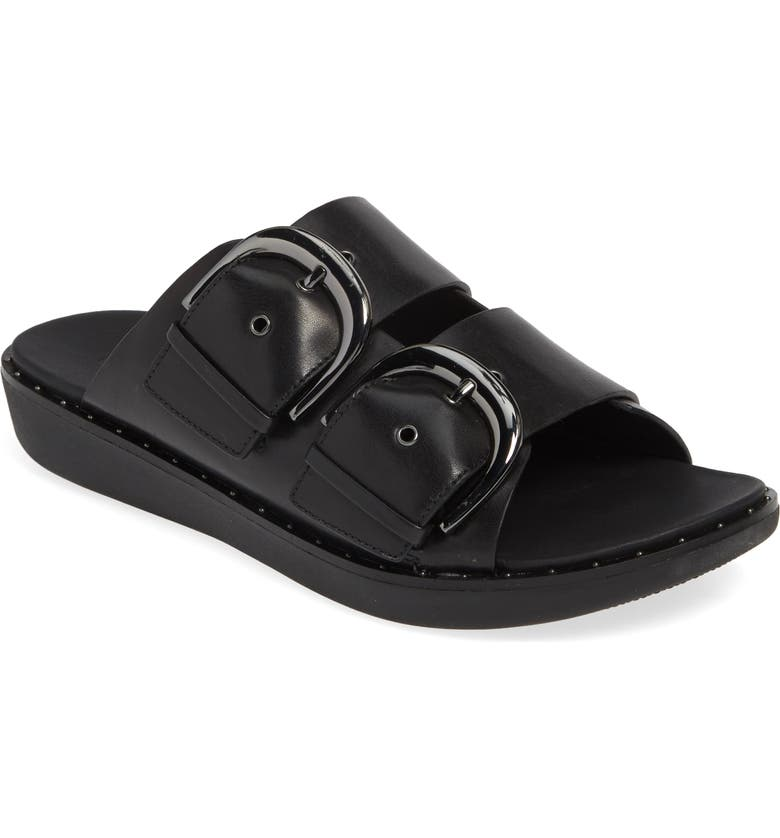 FITFLOP BuckleUp Slide Sandal, Main, color, BLACK