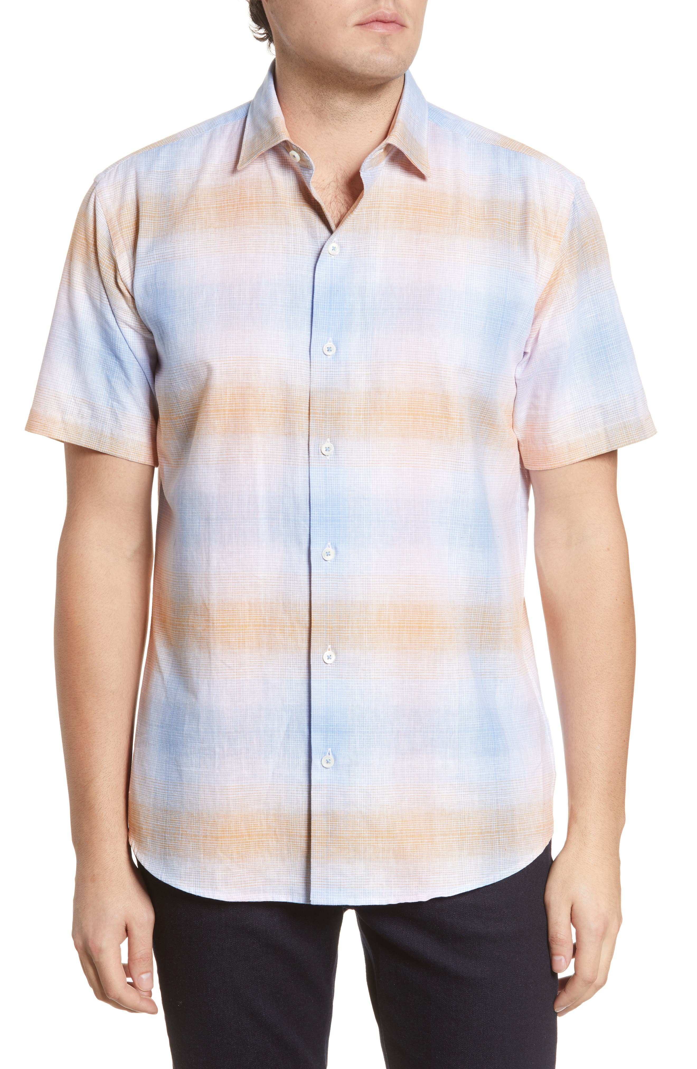 Gradient stripes bring ombre coloring to a casual plaid sport shirt made from soft cotton and breathable linen with a fit that\\\'s slim but easy to move in. Style Name: Bugatchi Shaped Fit Plaid Short Sleeve Button-Up Cotton & Linen Shirt. Style Number: 6011999. Available in stores.