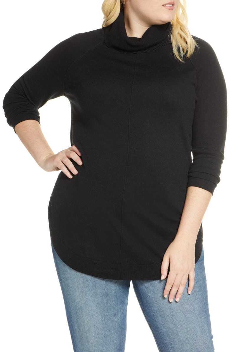 CASLON<SUP>®</SUP> Turtleneck Tunic Sweater, Main, color, 001