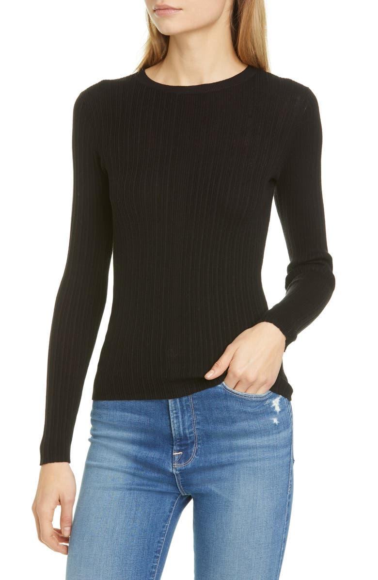 FRAME Mixed Rib Silk & Cotton Sweater, Main, color, NOIR