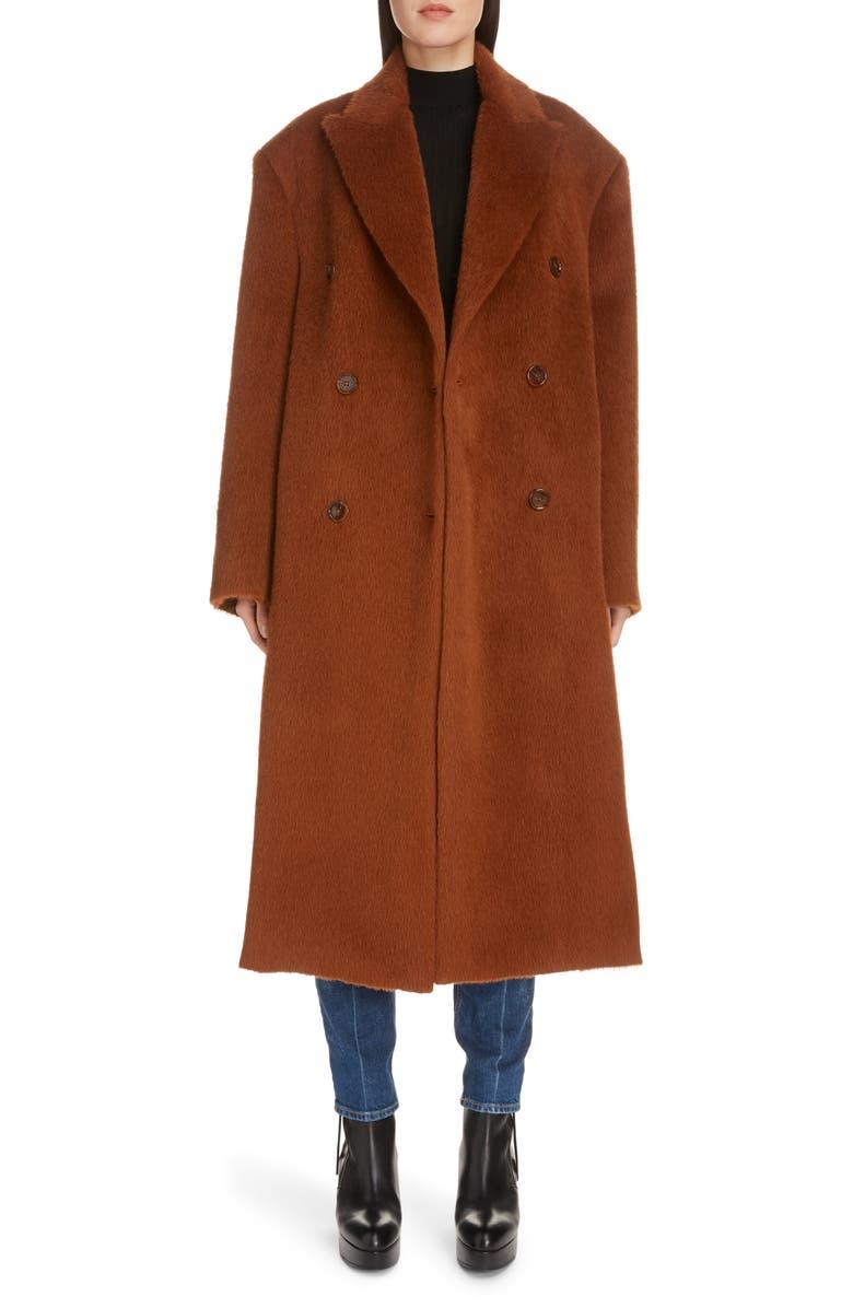 ACNE STUDIOS Octania Hairy Alpaca & Wool Coat, Main, color, CARAMEL BROWN