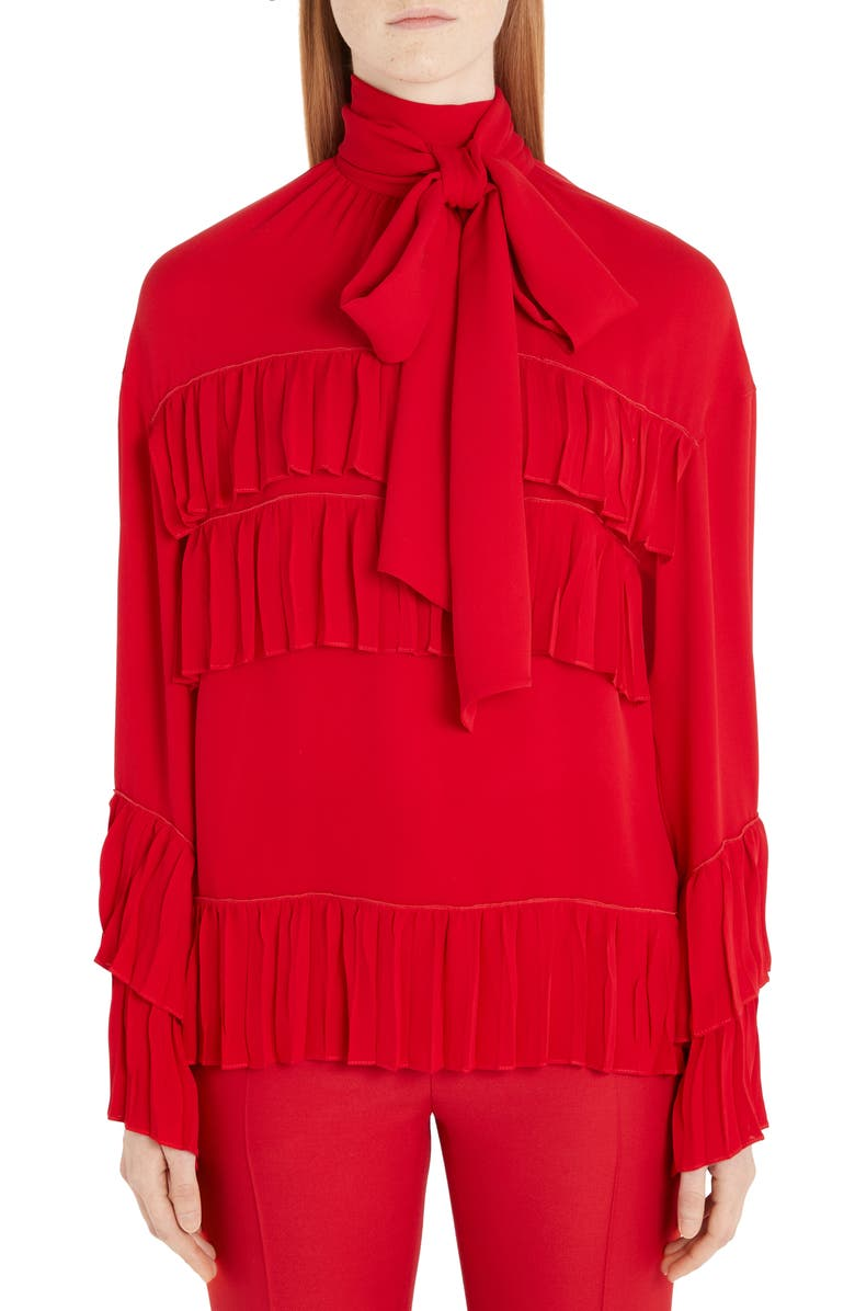 VALENTINO Ruffled Tie Neck Silk Georgette Blouse, Main, color, 157-RED