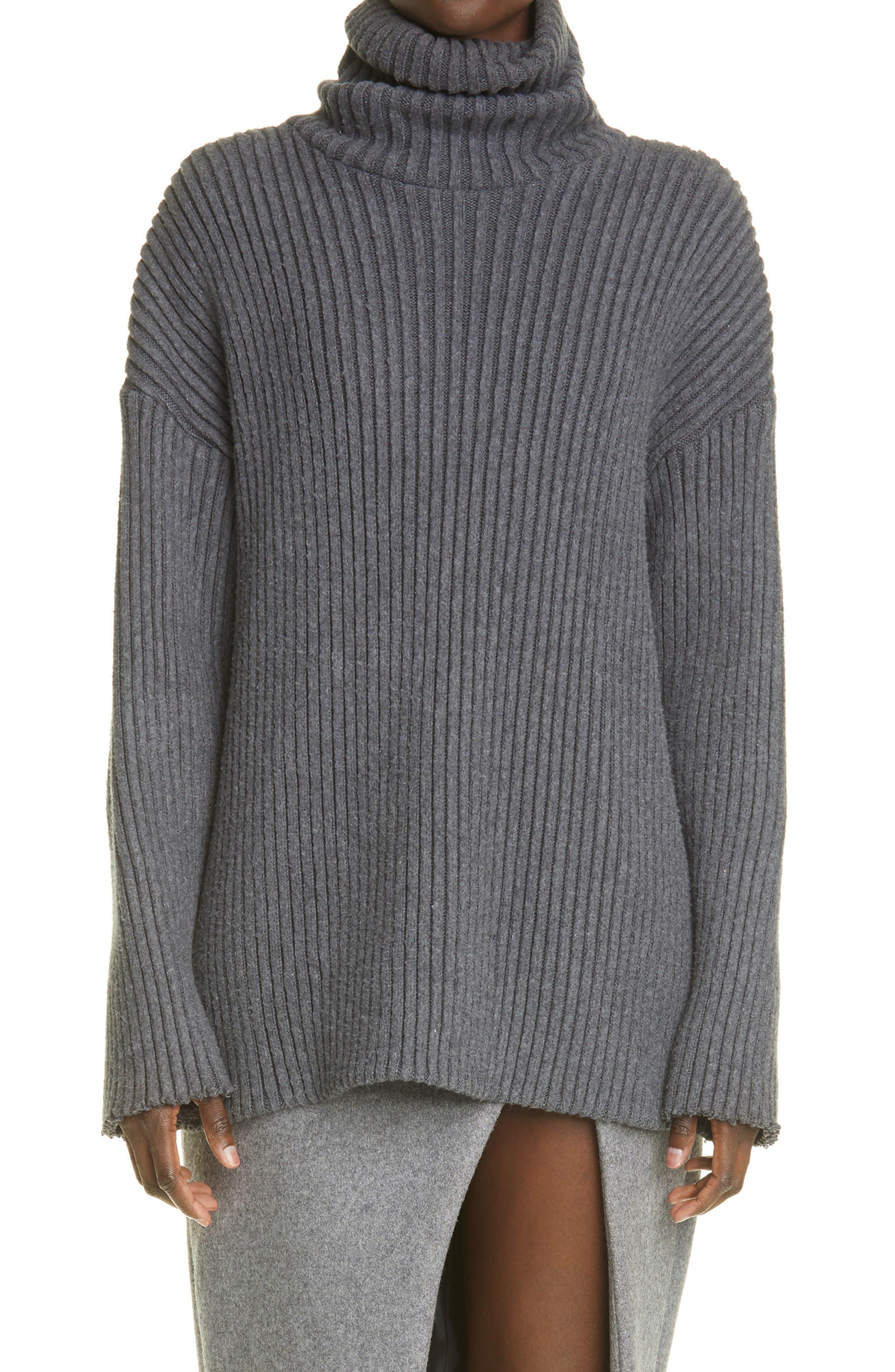 Oversize Cotton Turtleneck Sweater