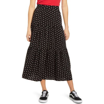 Ten Sixty Sherman Tiered Ruffle Midi Skirt, Black