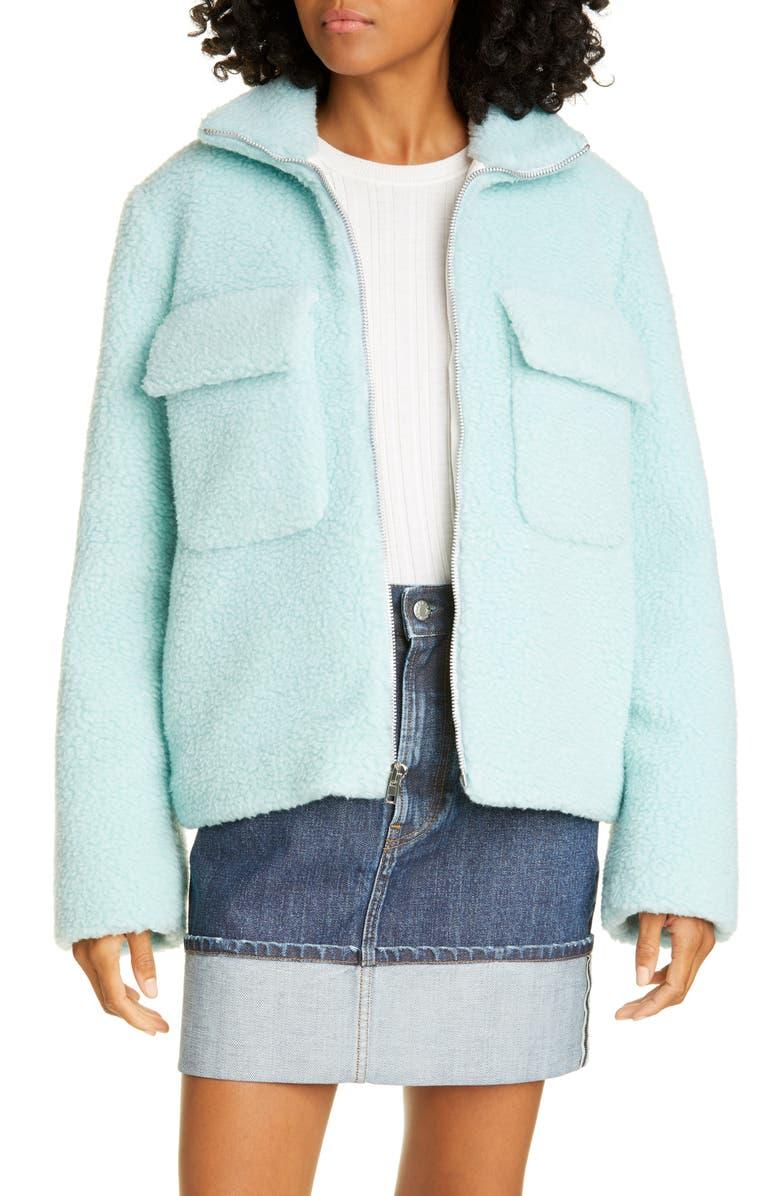 HELMUT LANG Teddy Faux Fur Wool Blend Bomber, Main, color, FOAM