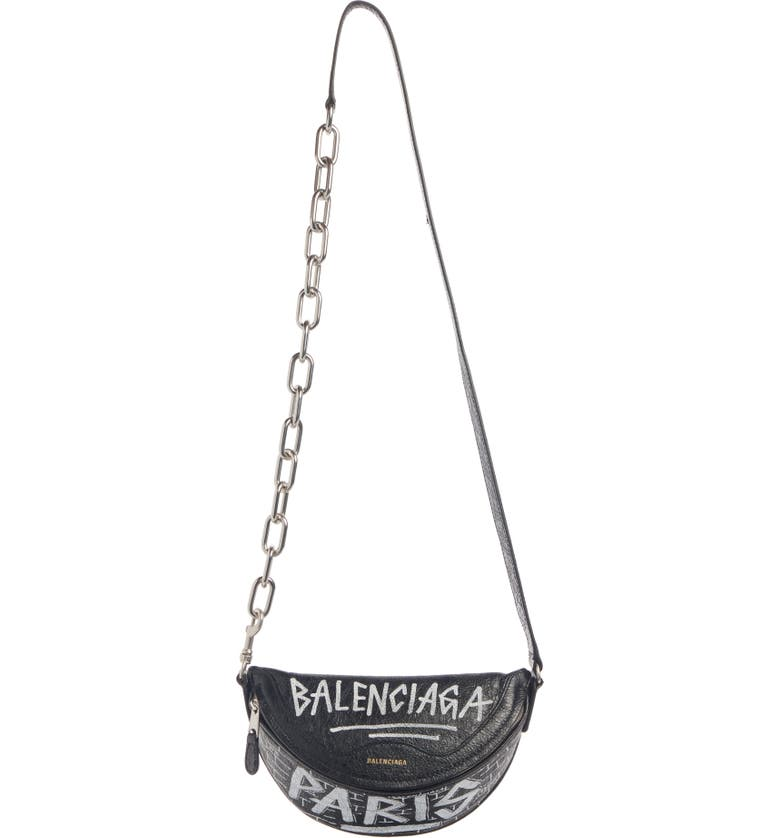 BALENCIAGA Extra Extra Small Souvenir AJ Logo Leather Belt Bag, Main, color, BLACK/ WHITE