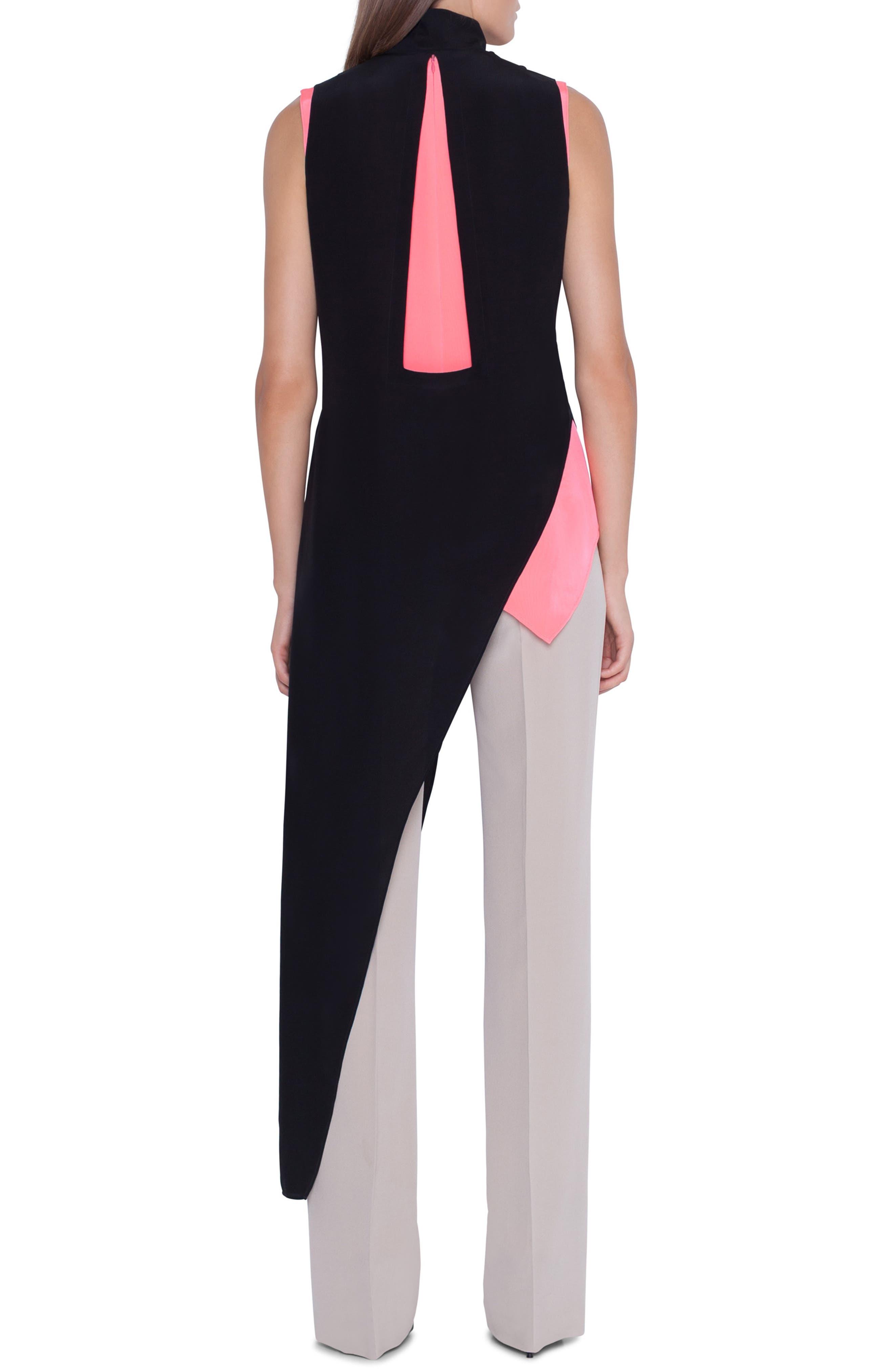,                             Asymmetrical Silk Crepe Tunic,                             Alternate thumbnail 2, color,                             BLACK