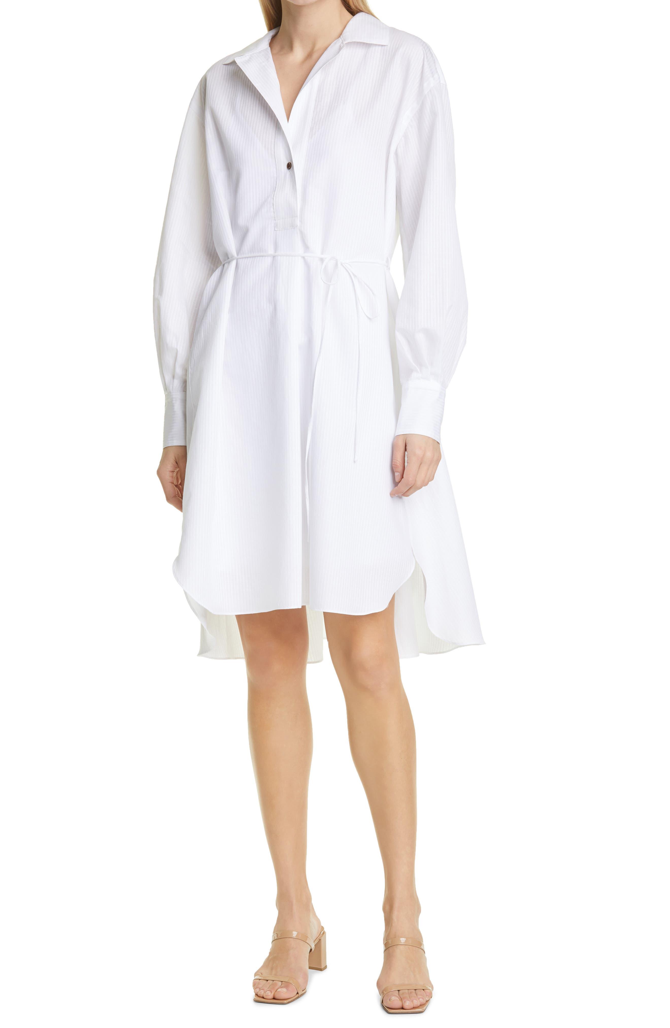 Tonal Stripe Long Sleeve Cotton & Linen Shirtdress