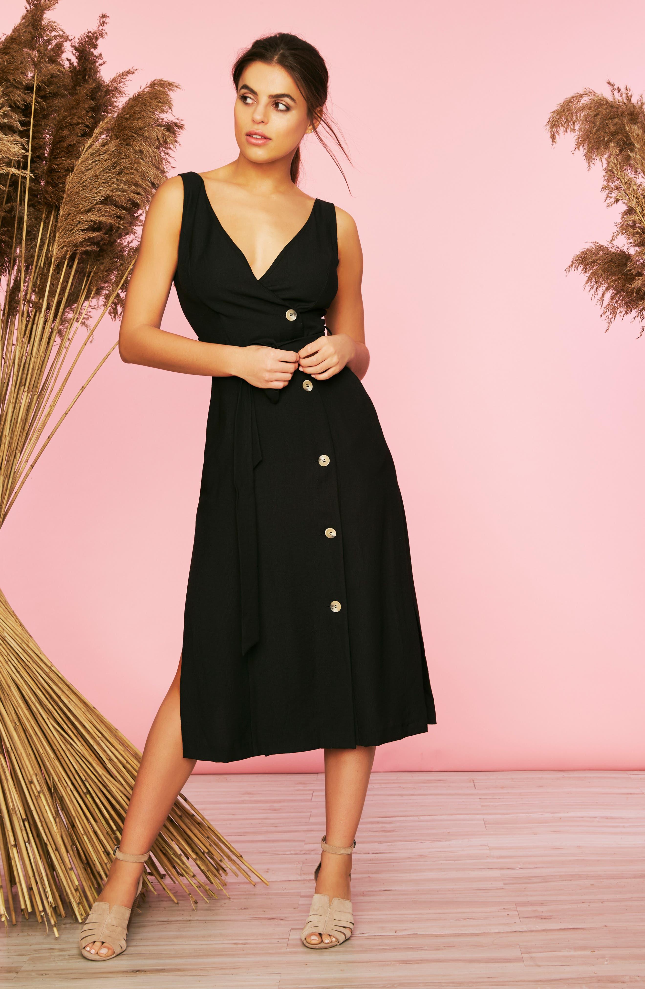 1.state Button Front Sleeveless Faux Wrap Dress, Black