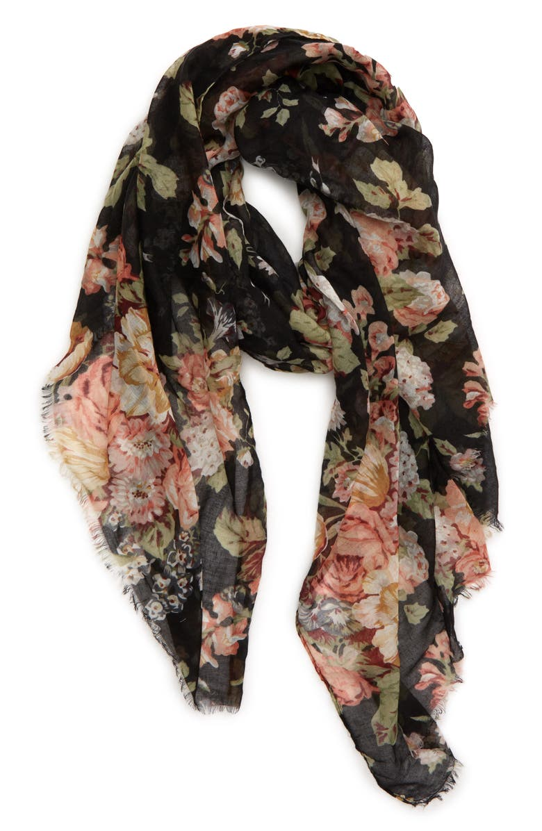 SOLE SOCIETY Bouquet Floral Scarf, Main, color, BLACK MULTI