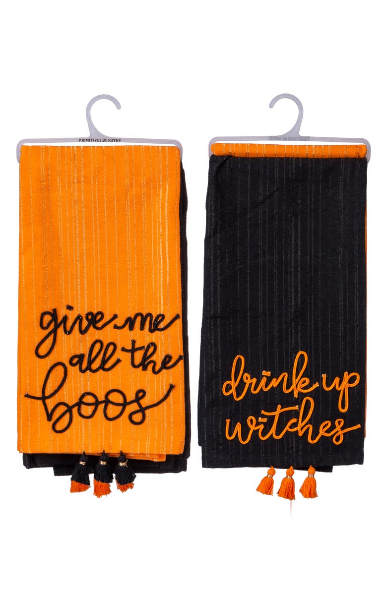 PRIMITIVES BY KATHY Set of 2 Halloween Dish Towels, Main, color, BLACK