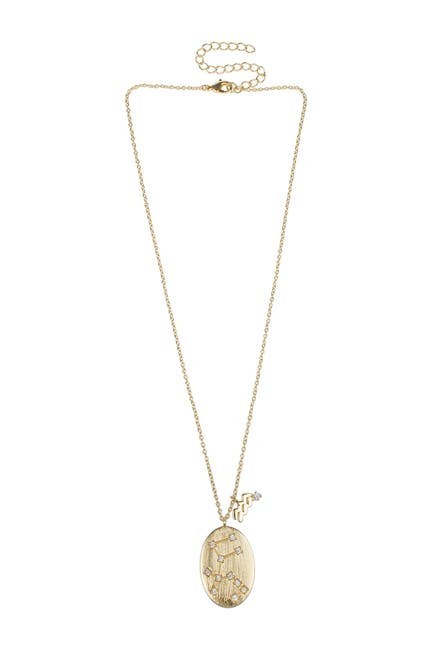 Image of CZ By Kenneth Jay Lane Aquarius Constellation Zodiac 14K Gold Plated CZ Pendant Necklace