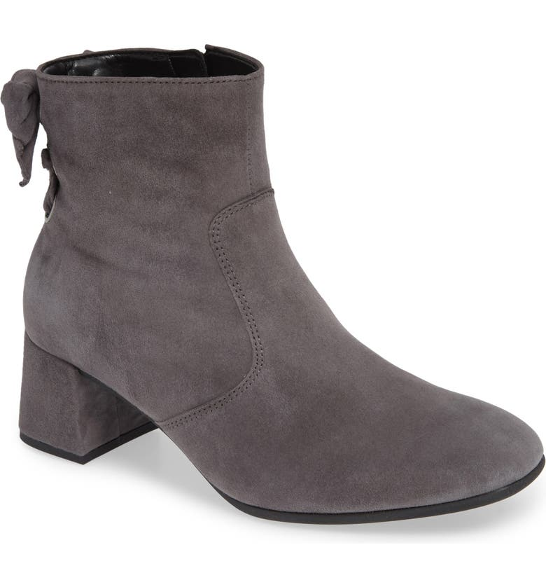 GABOR Bow Back Bootie, Main, color, DARK GREY LEATHER