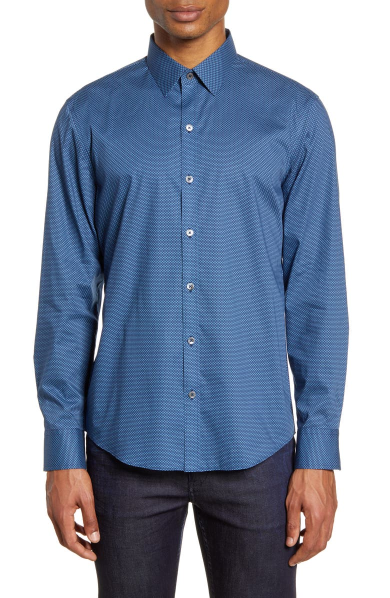 ZACHARY PRELL Larson Regular Fit Stretch Button-Up Shirt, Main, color, DK AQUA