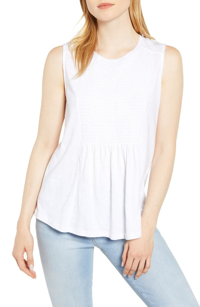 CASLON<SUP>®</SUP> Smocked Bib Top, Main, color, WHITE