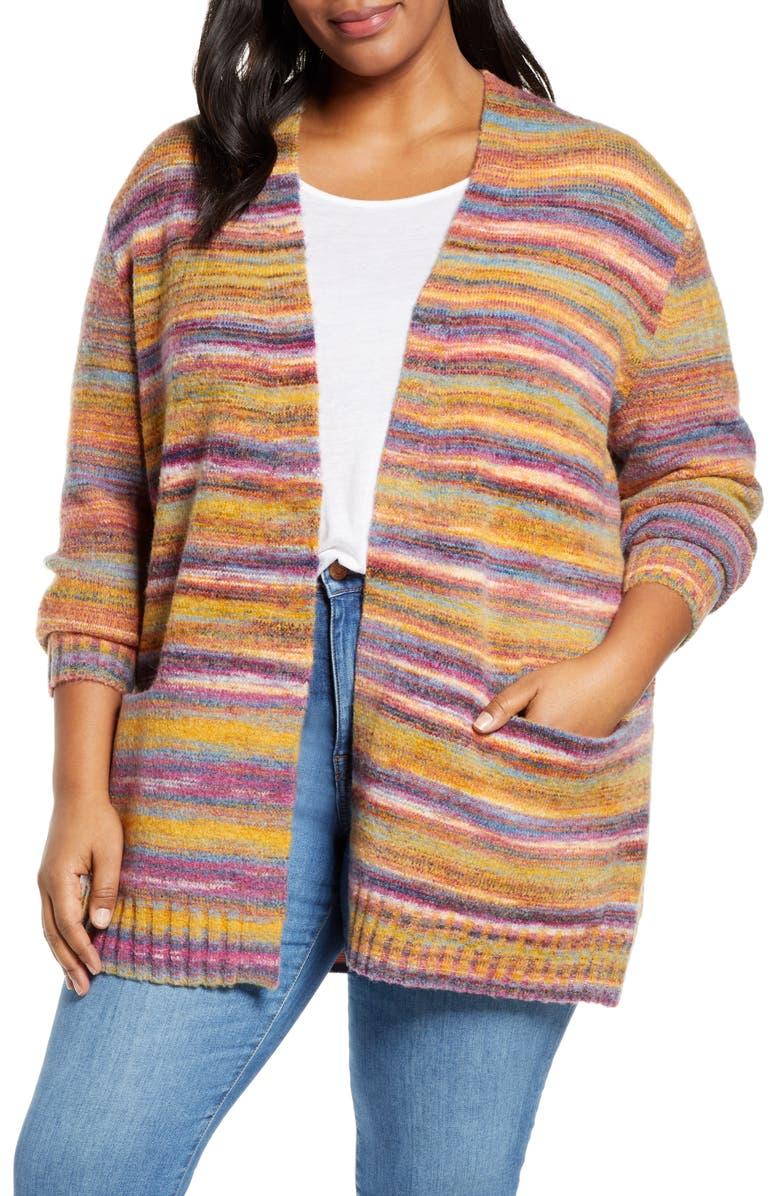CASLON<SUP>®</SUP> Space Dye Open Front Cardigan, Main, color, 720