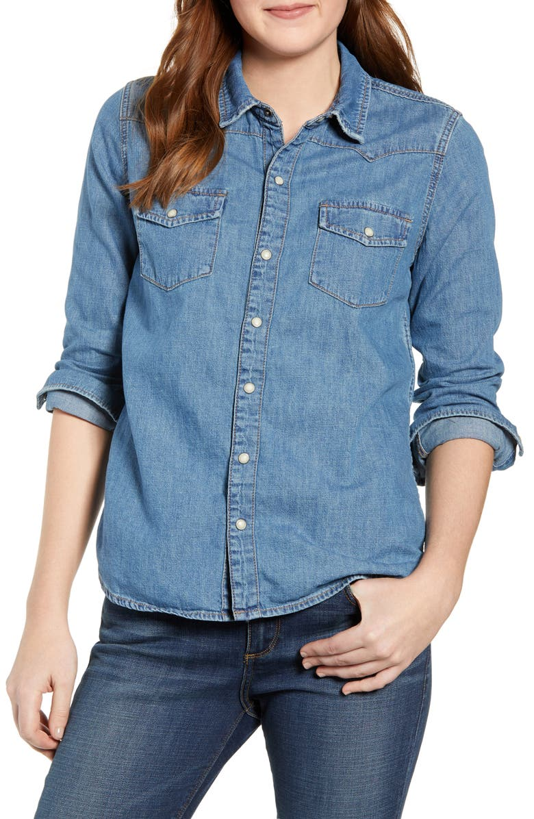 LUCKY BRAND Chambray Western Shirt, Main, color, 430