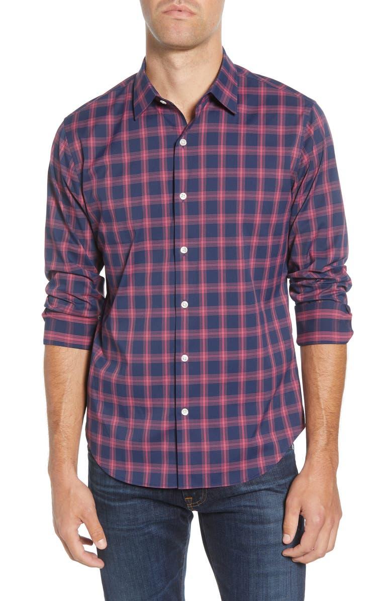 BONOBOS Slim Fit Check Button-Up Performance Sport Shirt, Main, color, 400