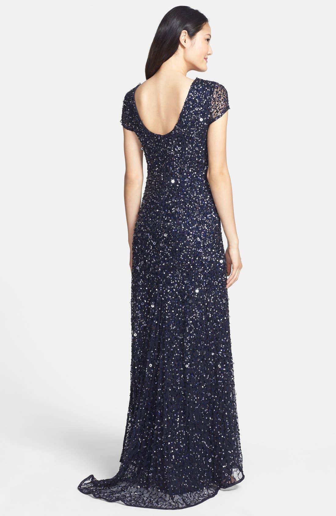 ,                             Short Sleeve Sequin Mesh Gown,                             Alternate thumbnail 50, color,                             410