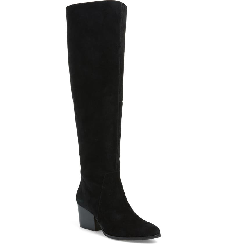 Nestel Knee High Boot, Main, color, BLACK SUEDE