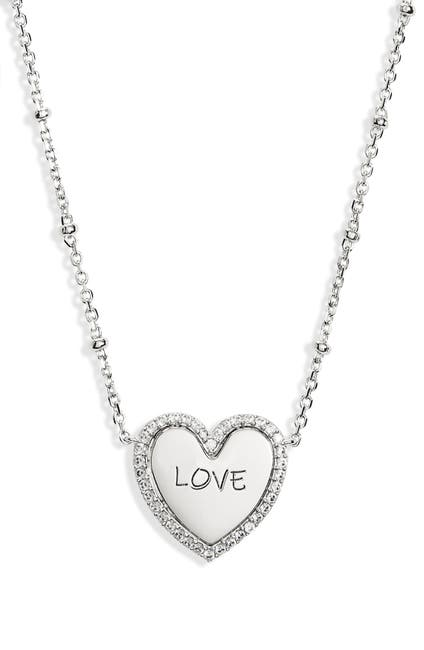 Image of NADRI Rhodium Plated CZ Trim Love Heart Pendant Necklace