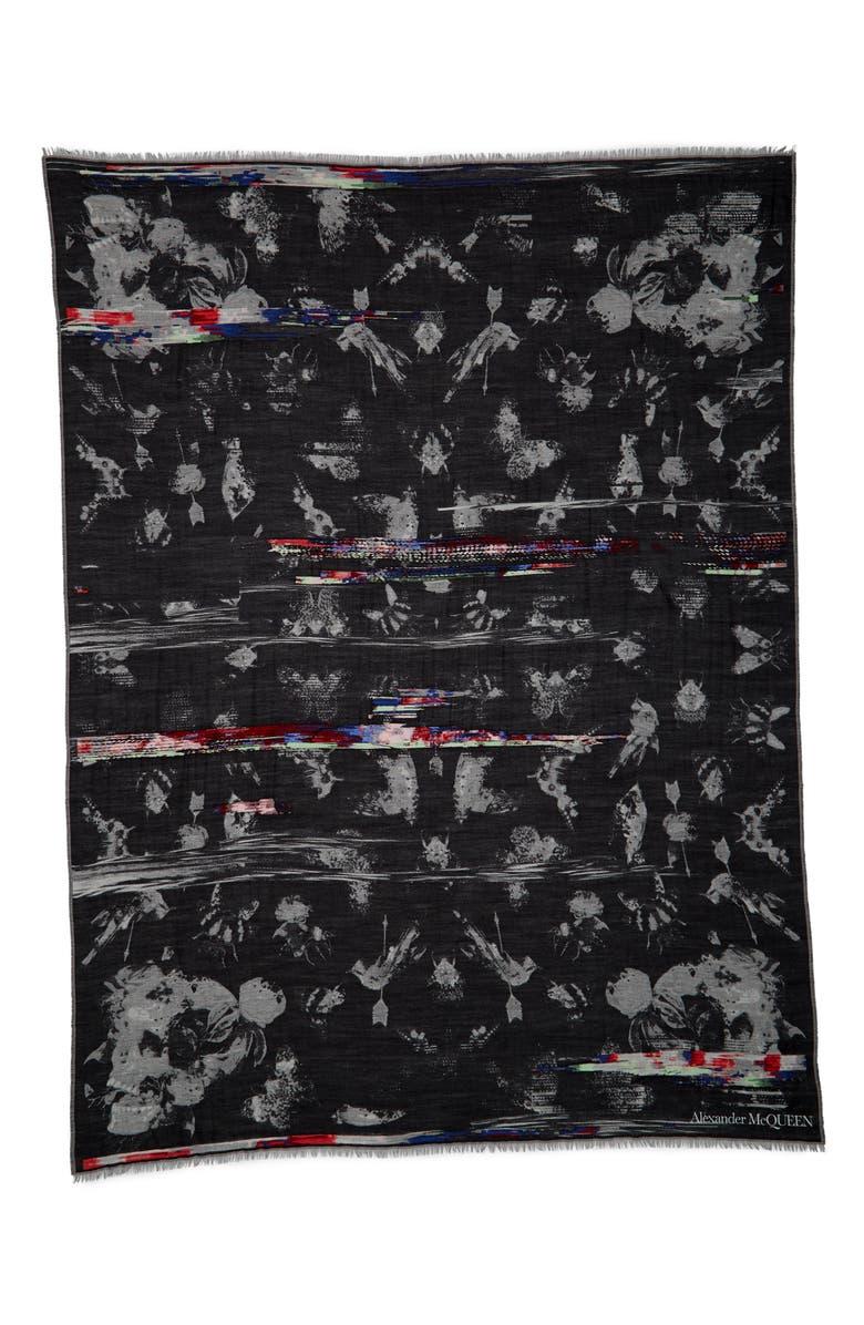 ALEXANDER MCQUEEN Nocturnal Garden Wool & Modal Scarf, Main, color, 1078 BLACK/ IVORY