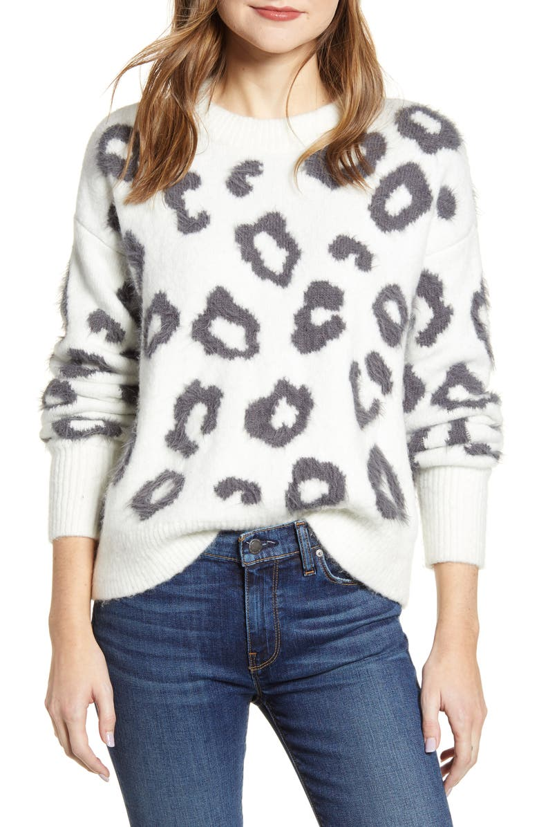 LOU & GREY Animal Print Sweater, Main, color, 102