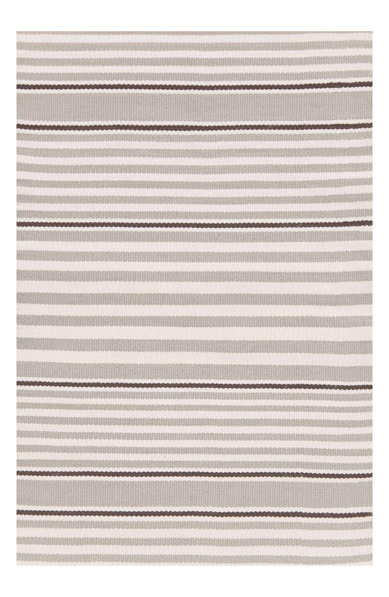 DASH & ALBERT 'Rugby Stripe' Indoor/Outdoor Rug, Main, color, PLATINUM