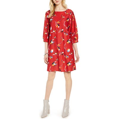 Halogen Flowy Shift Dress, Red