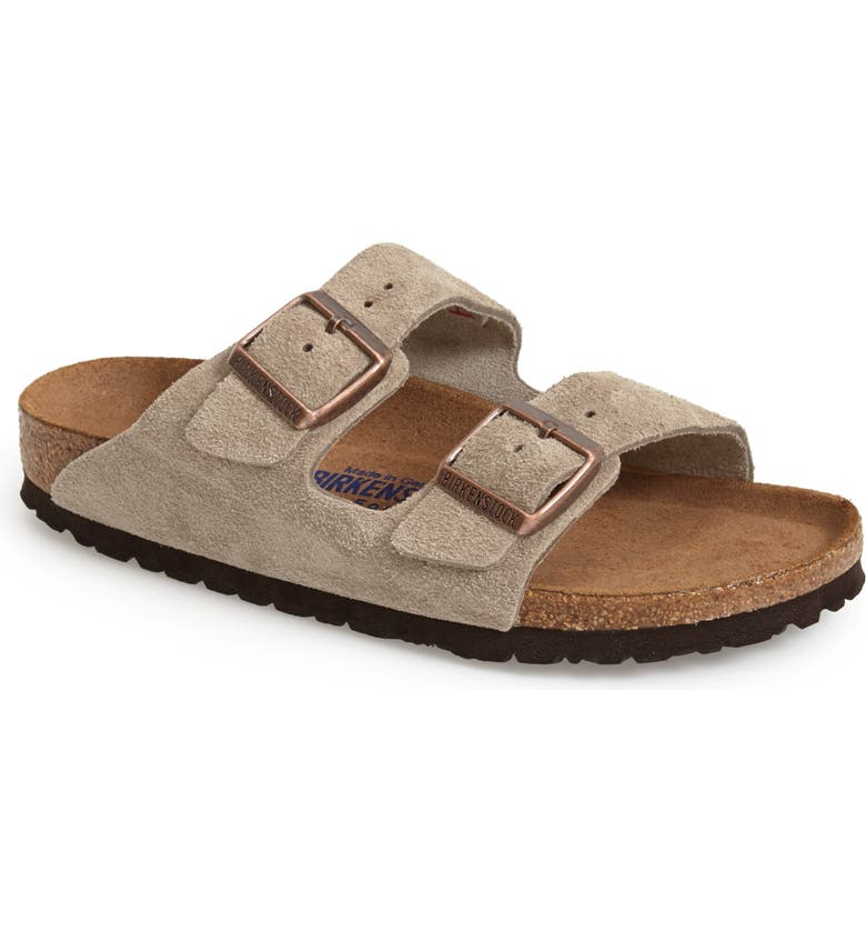 BIRKENSTOCK Arizona Soft Slide Sandal, Main, color, TAUPE SUEDE