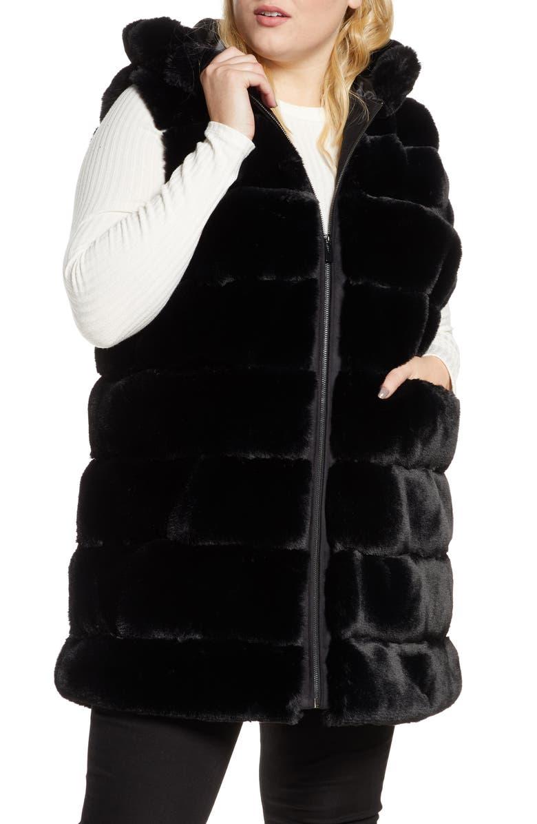 VIA SPIGA Reversible Hooded Faux Fur Vest, Main, color, BLACK