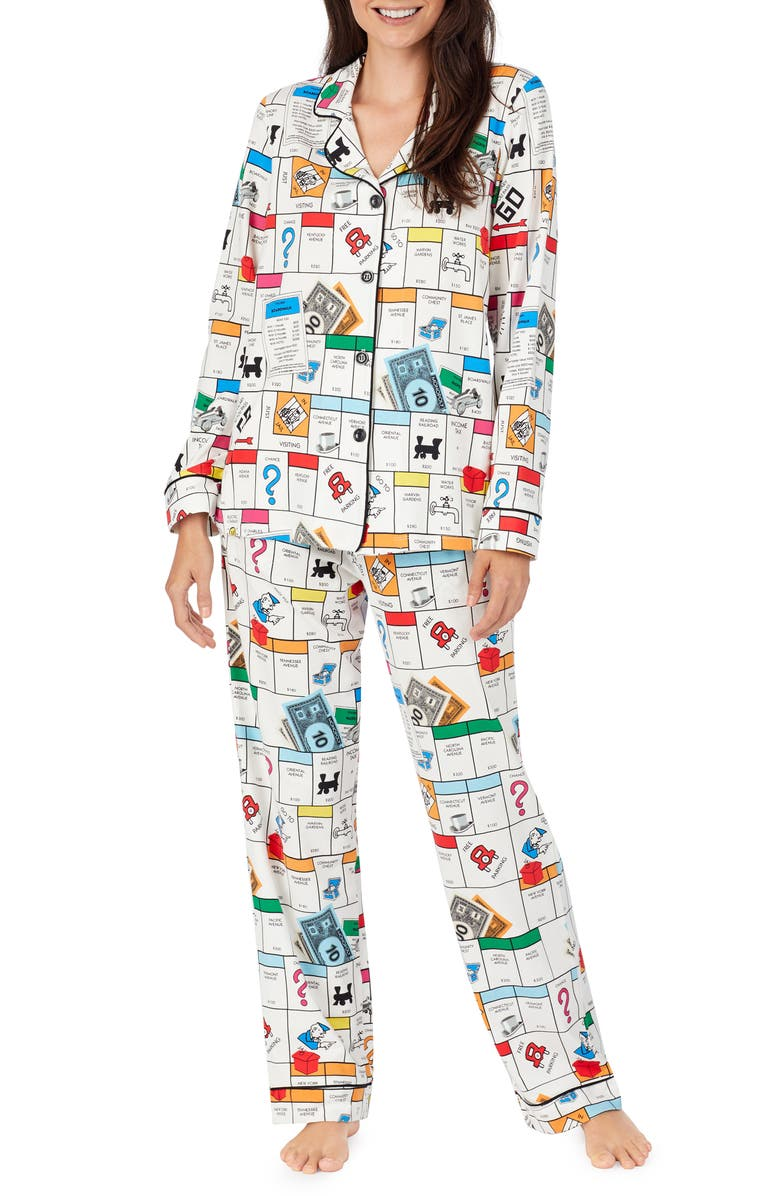BEDHEAD PAJAMAS x Monopoly Print Long Sleeve Stretch Cotton Pajamas, Main, color, 100