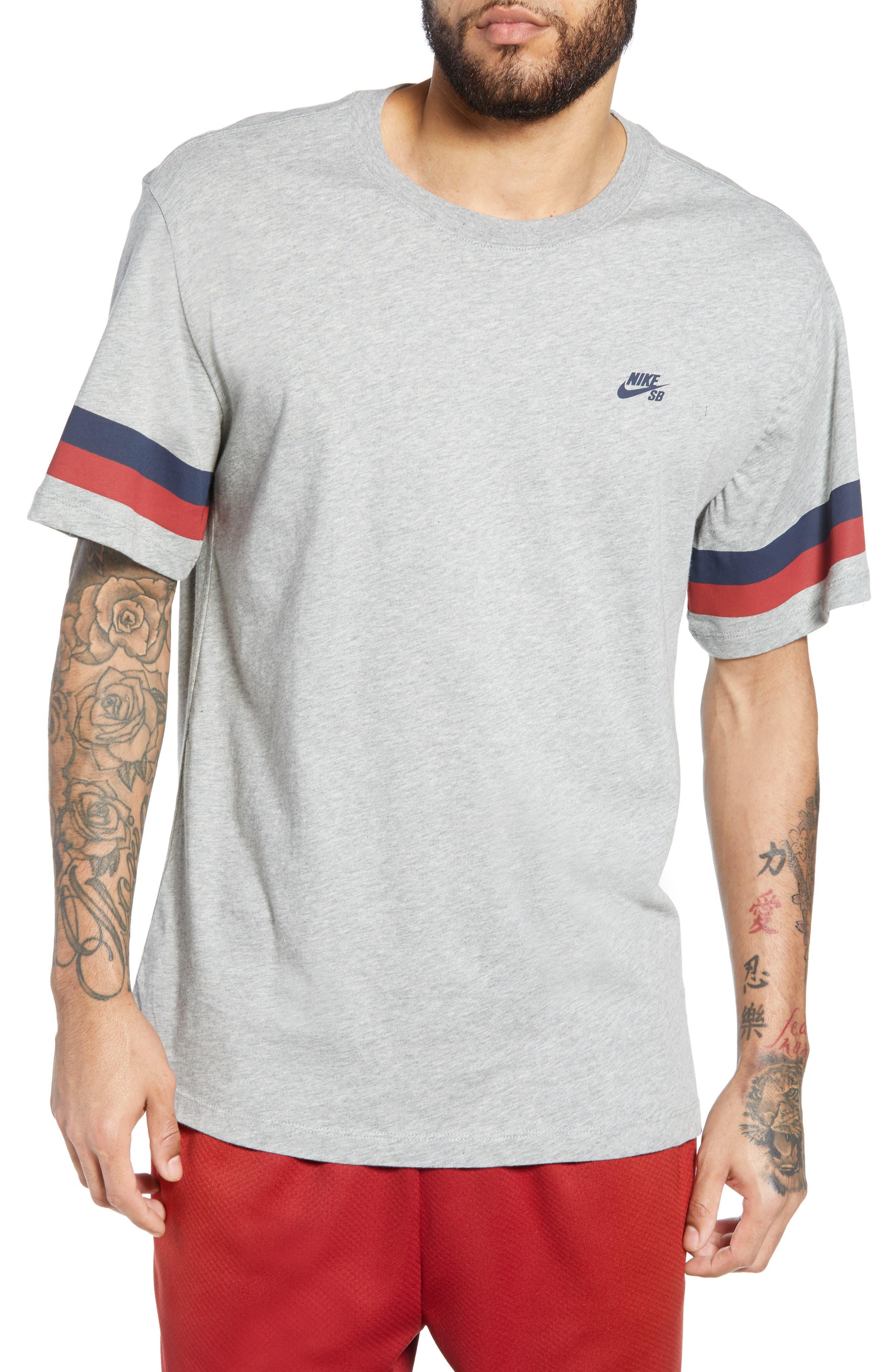 Nike Sb Sleeve Stripe T-Shirt, Grey