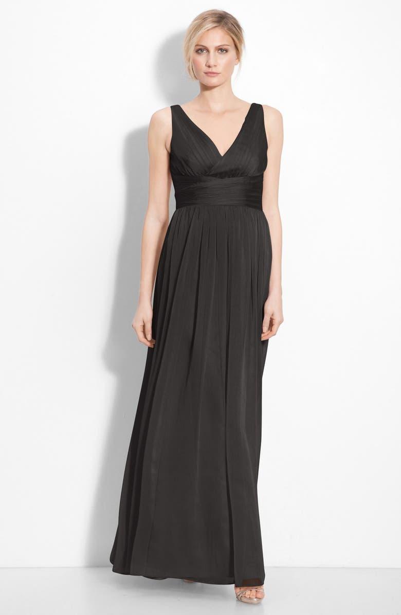 MONIQUE LHUILLIER BRIDESMAIDS Sleeveless Ruched Chiffon Dress, Main, color, 001