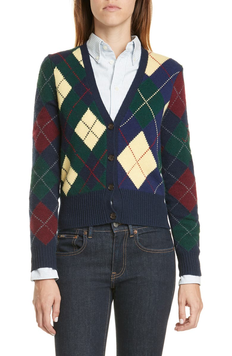POLO RALPH LAUREN Argyle Wool & Cashmere Cardigan, Main, color, MULTI