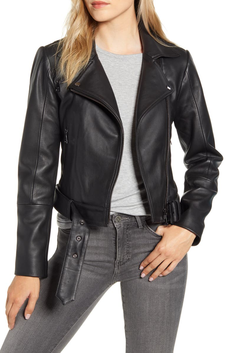TED BAKER LONDON Samma Belted Leather Biker Jacket, Main, color, 001