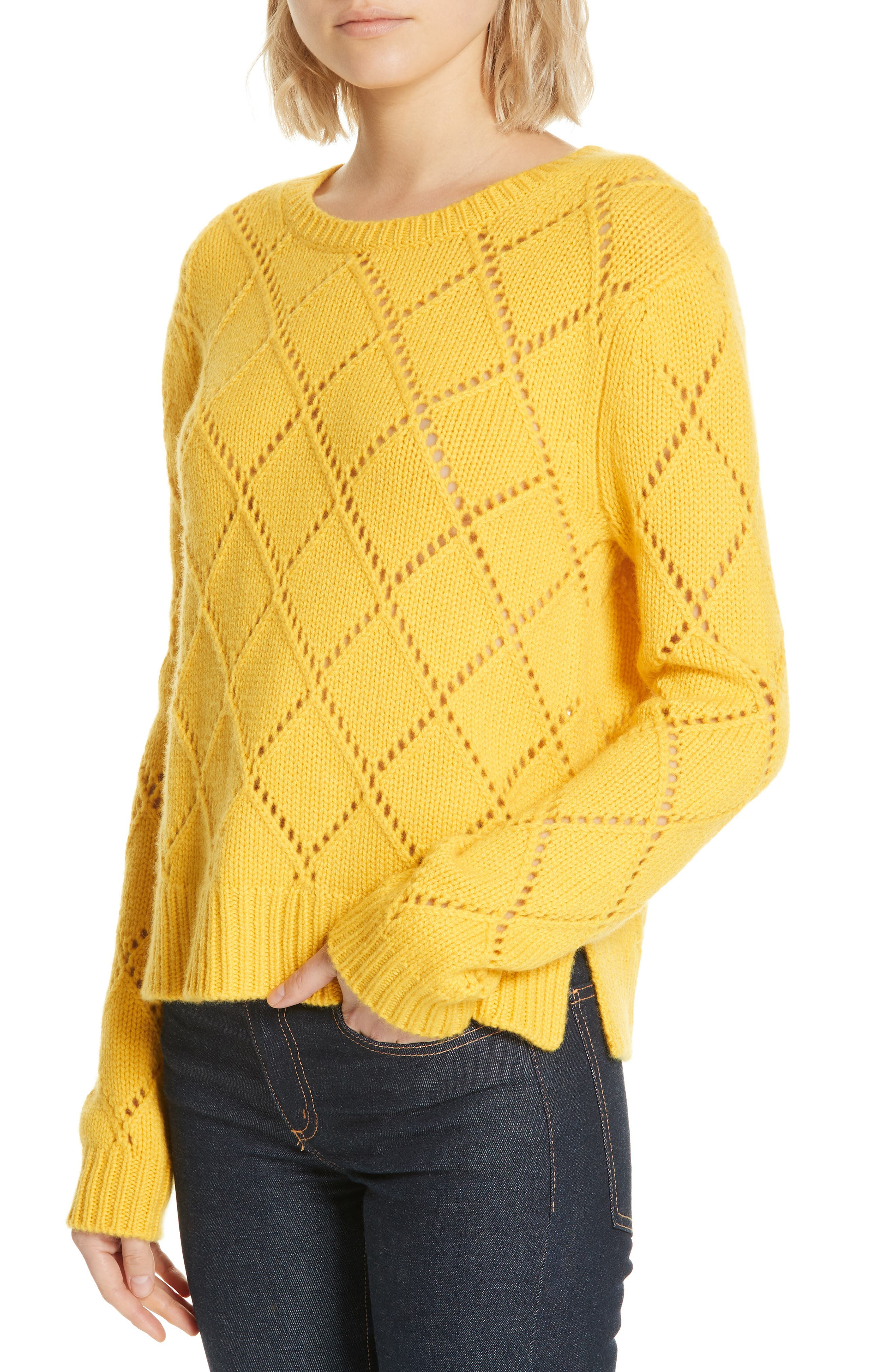 ,                             Cashmere Textured Harlequin Sweater,                             Alternate thumbnail 4, color,                             YELLOW