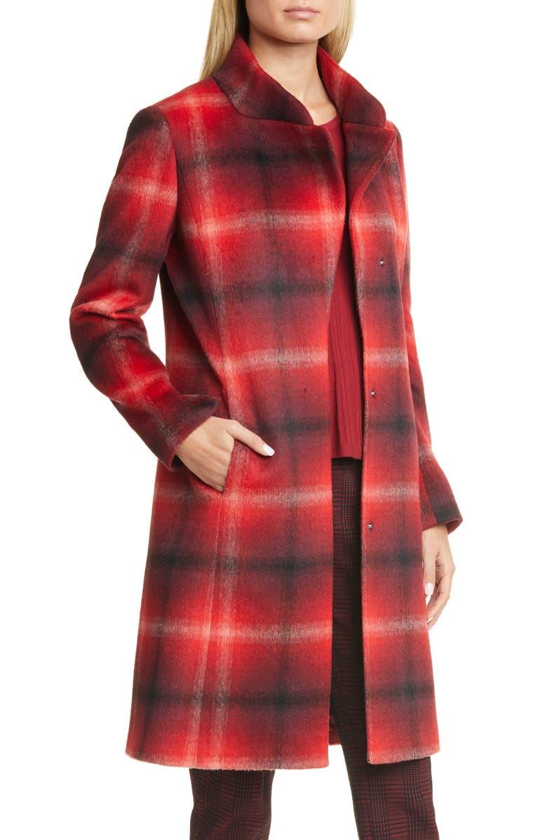 HUGO Metura Brushed Plaid Coat, Main, color, HUGO RED