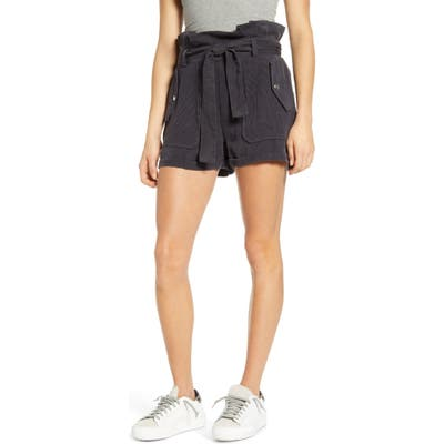 Blanknyc Paperbag Waist Patch Pocket Shorts, Black