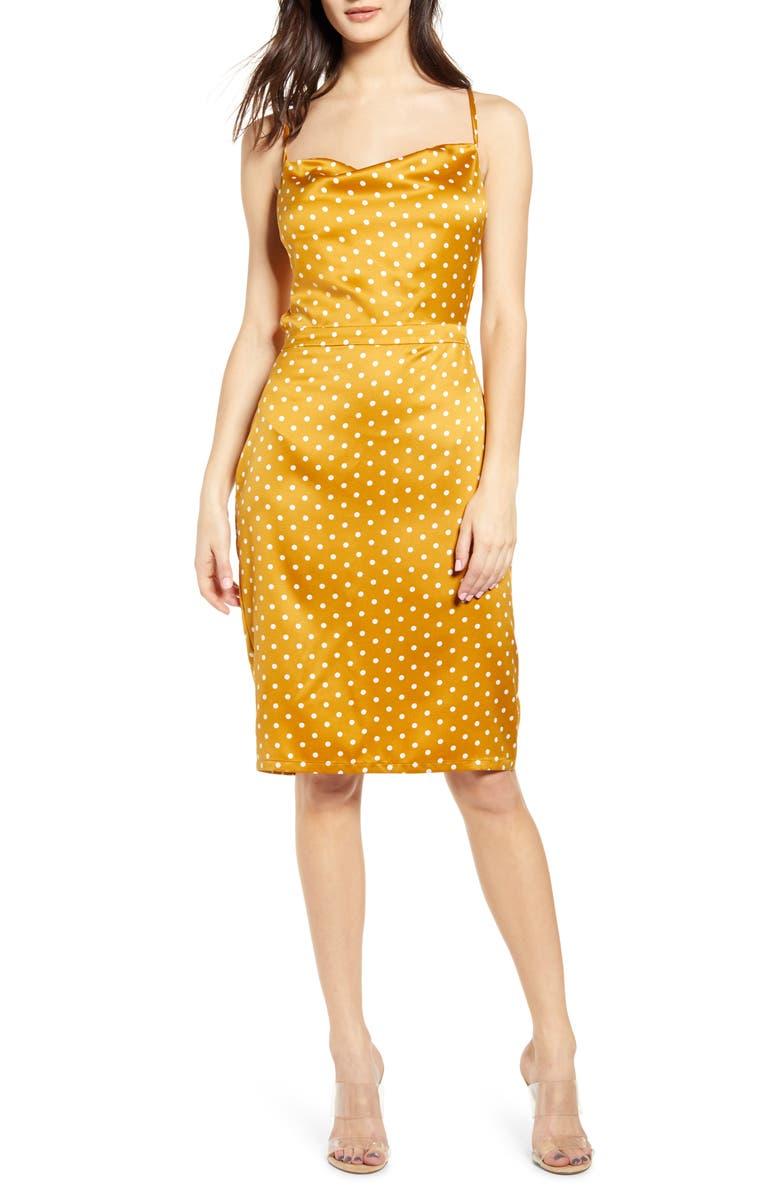 J.O.A. Polka Dot Cowl Open Back Satin Dress, Main, color, DIJON DOT