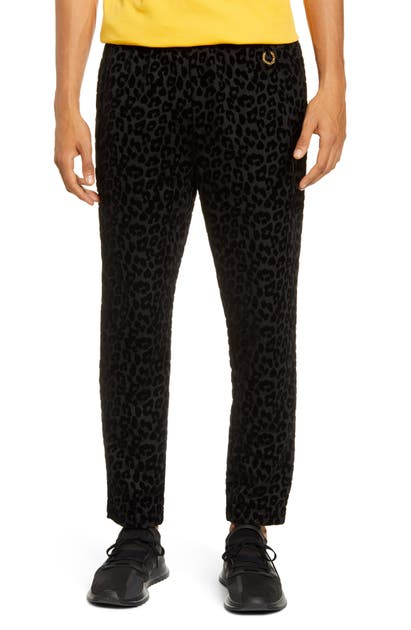 Fred Perry Pants FLOCKED LEOPARD TRACK PANTS