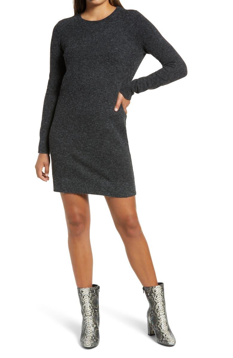 VERO MODA Doffy Long Sleeve Sweater Dress, Main, color, BLACK