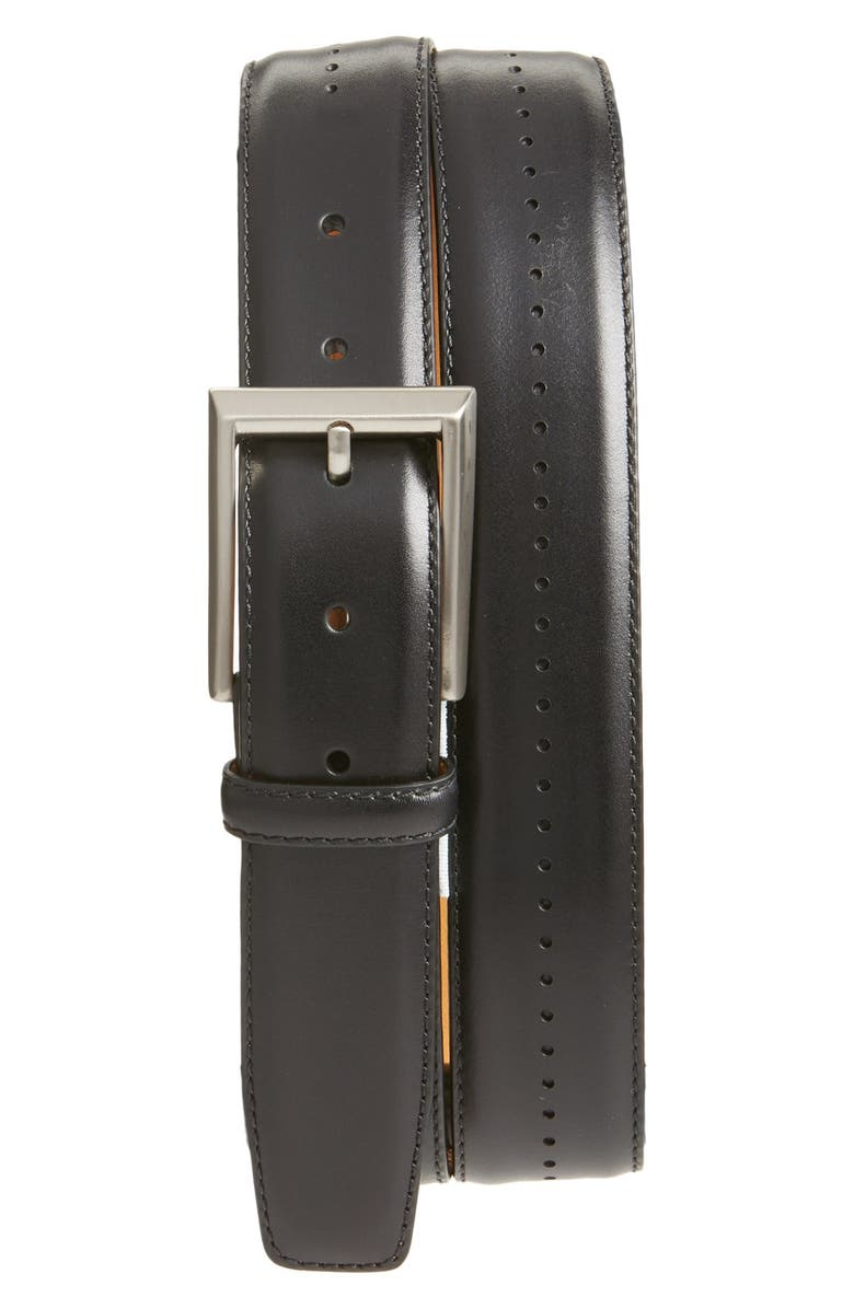 MAGNANNI 'Catalux' Leather Belt, Main, color, BLACK